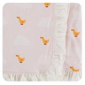 Kickee Pants Print Ruffle Stroller Blanket (Macaroon Puddle Duck - One Size)