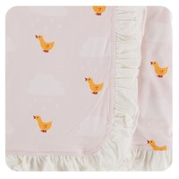 Kickee Pants Print Ruffle Stroller Blanket (Macaroon Puddle Duck - One Size)