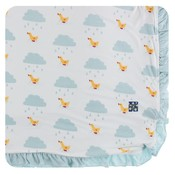 Kickee Pants Print Ruffle Toddler Blanket (Natural Puddle Duck - One Size)