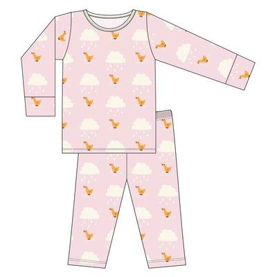 Kickee Pants Print Long Sleeve Pajama Set (Macaroon Puddle Duck)
