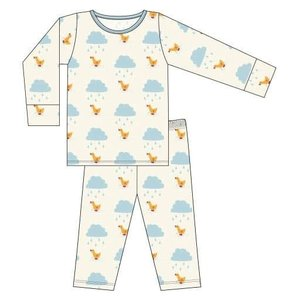 Kickee Pants Print Long Sleeve Pajama Set (Natural Puddle Duck)