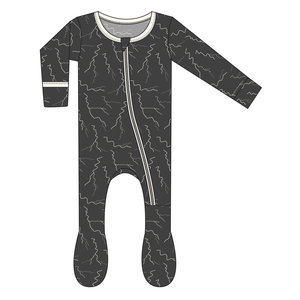 Kickee Pants Print Footie with Zipper (Zebra Lightning)