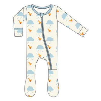 Kickee Pants Print Footie with ZIPPER (Natural Puddle Duck)