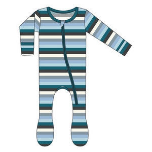 Kickee Pants Print Footie with Zipper (Meteorology Stripe)