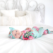 Posh Peanut Aqua Floral Layette Knotted Gown
