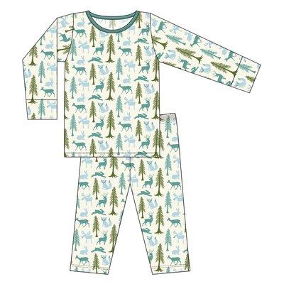 Kickee Pants Print Long Sleeve Pajama Set (Natural Woodland Holiday)