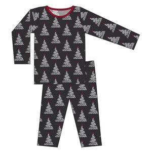 Kickee Pants Print Long Sleeve Pajama Set (Midnight Foil Tree)