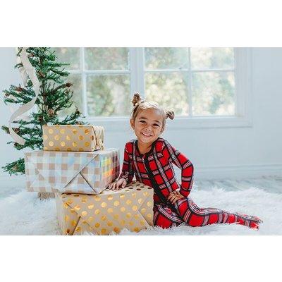 Kickee Pants Print Muffin Ruffle Footie with Zipper (Christmas Plaid 2019)