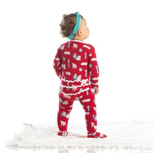 Kickee Pants Print Muffin Ruffle Footie with Zipper (Crimson Puppies and Presents)