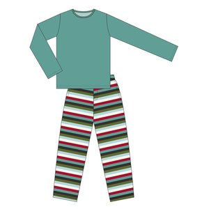 Kickee Pants Men's Print Long Sleeve Pajama Set (Christmas Multi Stripe)