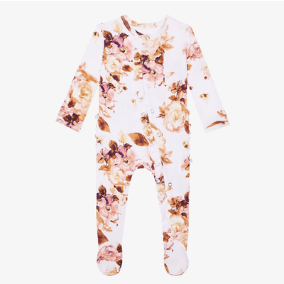 Posh Peanut Reese Floral Footie Ruffled Snap One Piece