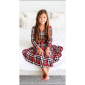 Posh Peanut Noah Plaid - Long Sleeve Twirl Dress