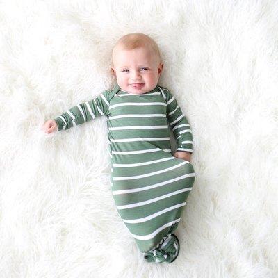 Posh Peanut Dark Sage Stripe - Basic Knotted Gown 0-3M