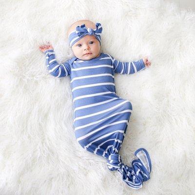 Posh Peanut Denim Blue Stripe - Basic Knotted Gown 0-3M