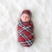 Posh Peanut Noah Plaid - Infant Swaddle and Beanie Set