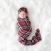 Posh Peanut Noah Plaid - Infant Swaddle andHeadwrap Set