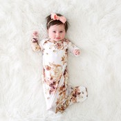 Posh Peanut Reese Floral Button Knotted Gown 0-3M