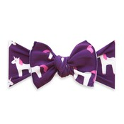 Baby Bling Printed Knot: plum unicorn