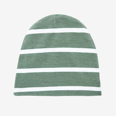 Posh Peanut Dark Sage Stripe - Infant Swaddle and Beanie Set