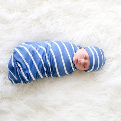 Posh Peanut Denim Blue Stripe - Infant Swaddle and Beanie Set