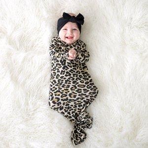 Posh Peanut Lana Leopard Tan - Basic Knotted Gown 0-3M