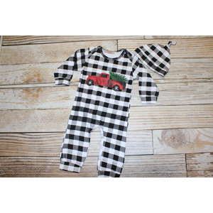 Lincoln&Lexi Buffalo Check Christmas Truck Romper & Hat Set