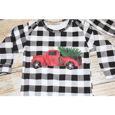 Buffalo Check Christmas Truck Romper & Hat Set