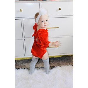 Lincoln&Lexi The Red Velvet Bow Back Romper