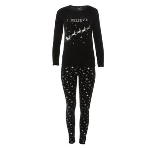 Kickee Pants Women's Print Long Sleeve Fitted Pajama Set (Silver Bright Stars)
