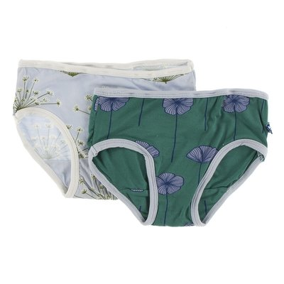 Kickee Pants Girls Underwear Set (Dew Dill and Ivy Poppies)
