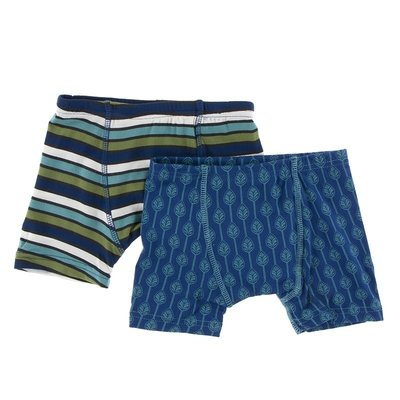 Kickee Pants Boxer Briefs Set (Botany Grasshopper Stripe and Navy Leaf Lattice)
