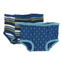 Kickee Pants Training Pants Set (Botany Grasshopper Stripe and Navy Leaf Lattice)
