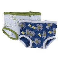 Kickee Pants Training Pants Set (Dew Dill and Navy Cornflower and Bee)