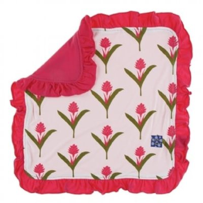 Kickee Pants Print Ruffle Lovey (Natural Red Ginger Flowers - One Size)