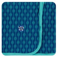 Kickee Pants Print Swaddling Blanket (Navy Leaf Lattice - One Size)