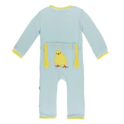 Kickee Pants Holiday Layette Applique Coverall (Spring Sky Fuzzy Chick)