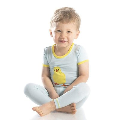 Kickee Pants Holiday Short Sleeve Applique Pajama Set (Spring Sky Fuzzy Chick)