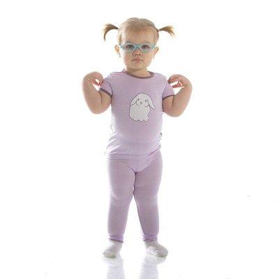 Kickee Pants Holiday Short Sleeve Applique Pajama Set (Thistle Lop Eared Bunny)