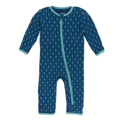 Kickee Pants Print Coverall with Zipper (Navy Leaf Lattice)