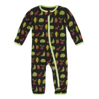 Kickee Pants Print Coverall with Zipper (Zebra Garden Veggies)
