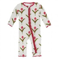 Kickee Pants Print Muffin Ruffle Coverall with Zipper (Natural Red Ginger Flowers)