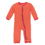 Kickee Pants Print Muffin Ruffle Coverall with Zipper (Nectarine Leaf Lattice)