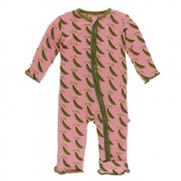 Kickee Pants Print Muffin Ruffle Coverall with Zipper (Strawberry Sweet Peas)