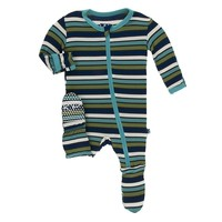 Kickee Pants Print Footie with Zipper (Botany Grasshopper Stripe)