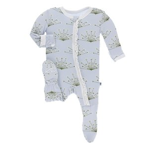 Kickee Pants Print Muffin Ruffle Footie with Zipper (Dew Dill)