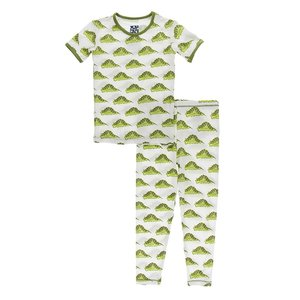 Kickee Pants Print Short Sleeve Pajama Set (Natural Caterpillars)