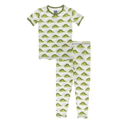 Kickee Pants Print Short Sleeve Pajama Set (Natural Caterpillars)