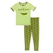 Kickee Pants Short Sleeve Piece Print Pajama Set (Grasshopper Sweet Peas)