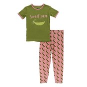 Kickee Pants Short Sleeve Piece Print Pajama Set (Strawberry Sweet Peas)