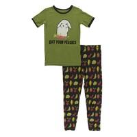 Kickee Pants Short Sleeve Piece Print Pajama Set (Zebra Garden Veggies)